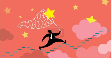 Illustration for Man running up and catching his dream - Royalty Free Image
