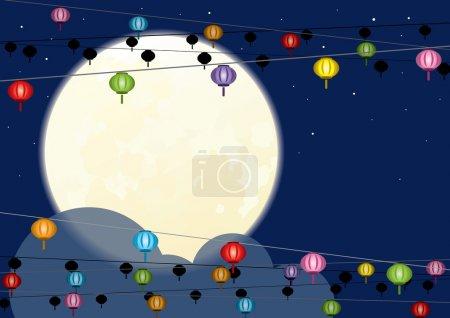 Illustration pour Pleine lune et lanterne chinoise suspendue pour la mi-automne chinois ou Nouvel an chinois - image libre de droit