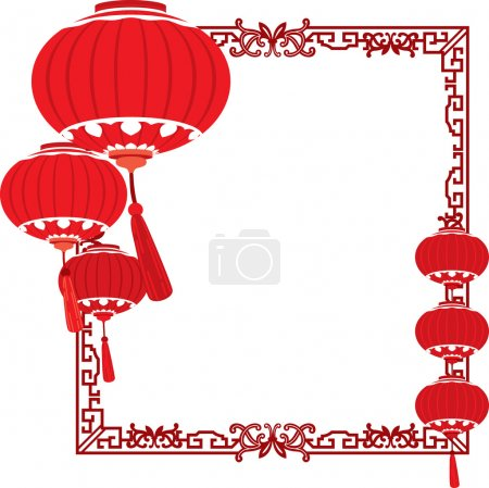 Illustration for RED Chinese lanterns decorations in different layers - Royalty Free Image