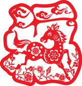 Running horse inside the Chinese character Luck design pattern