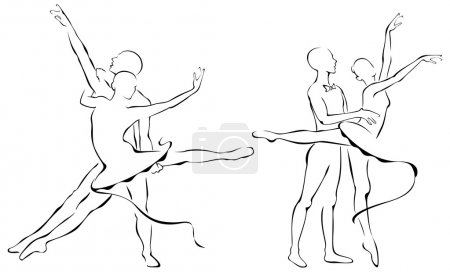 Illustration for Ballet dance partners, 2 x Ballerina in action - Royalty Free Image