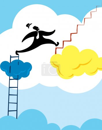 Illustration for Man running to next level illustration - Royalty Free Image