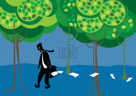 Illustration for Lonely and Jobless guy walking behalf sad and lonely forest - Royalty Free Image