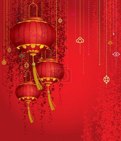 Illustration for Red Lanterns background illustration - Royalty Free Image