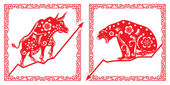 Bear Vs Bull in Chinese paper cut style
