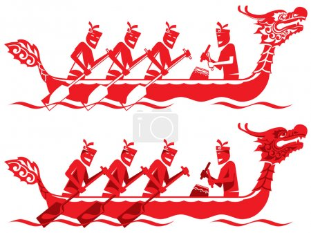 Chinese Dragon Boat competition illustration in two styles