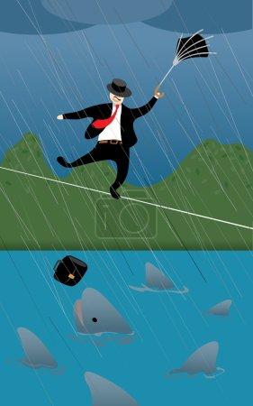 Illustration for Business man facing risky challenge - Royalty Free Image