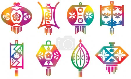 Color Chinese paper lanterns set with mesh effect