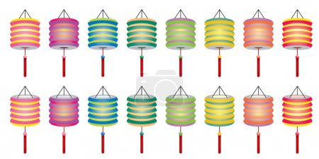 Mixed color Chinese paper lantern set
