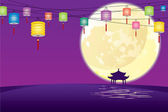 Full moon and paper lanterns