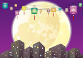 Chinese Mid autumn lanterns city night scene