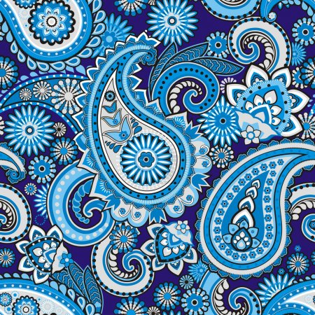 Illustration for Seamless pattern based on traditional Asian elements Paisley - Royalty Free Image