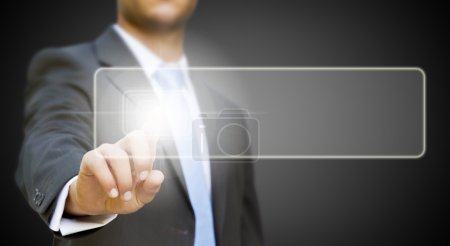 Businessman touching tactile screen concept