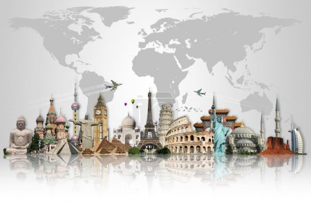 Travel the world monuments concept made with ones ...