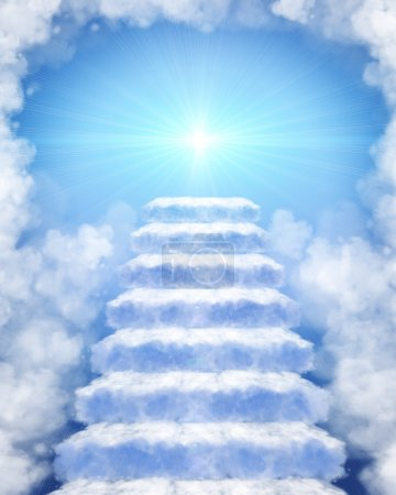 Photo for Illustration of a stairway made of clouds to heaven - Royalty Free Image