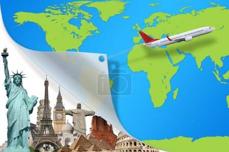 Travel the world monuments plane concept