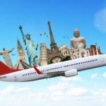 Постер, плакат: Travel the world monuments plane concept
