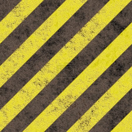 Old grungy yellow hazard stripes on a black asphalt - seamless texture perfect for 3D modeling and rendering