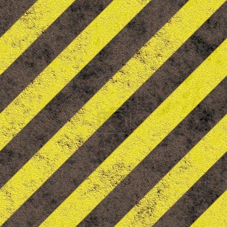 Photo pour Vieux stripes grungy danger jaune sur un asphalte noir - seamless texture parfaite pour la modélisation 3d et de rendu - image libre de droit