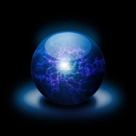 Photo pour Boule plasma rose et bleu éclatante dans l'obscurité - image libre de droit