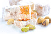 Turkish delight (lokum) with pistachios, closeup
