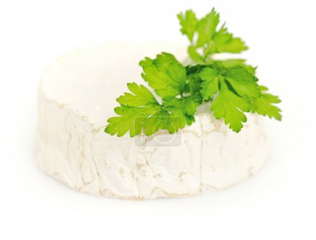 Round camembert cheese with a parsley isolated on white
