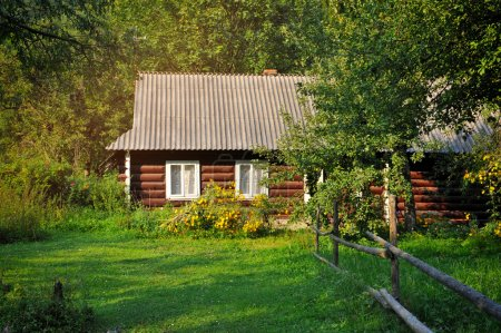 Old village house in summer day