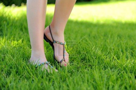 Woman legs walking on grass