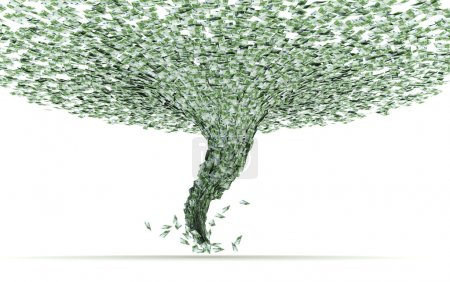 Economic crisis as a tornado sucks currency