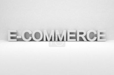 Photo pour Commerce électronique écrit en 3d blanc - image libre de droit