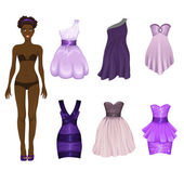 Dress-up doll with dresses assortment