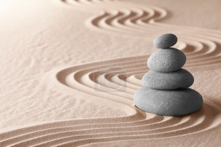Zen meditation garden, relaxation and meditation through simplicity harmony and balancce lead to health and wellness, spirituality and concentration background with