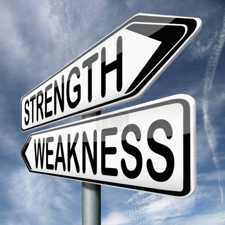 Photo for Strength or weakness overcome fragility strong or weak road sign signpost - Royalty Free Image