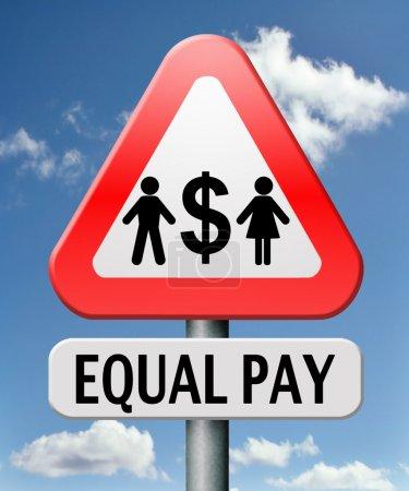 Photo pour L'égalité de rémunération l'égalité des droits entre hommes et femmes sur le marché du travail a marqué des possibilités de paiement équitables avec le même salaire - image libre de droit