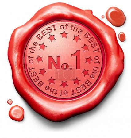 Foto de Número 1 Nº uno gráficos o deportes ganadores ranking resultados mejor calidad superior primer premio Premio ganador icono rojo cera sello sello - Imagen libre de derechos