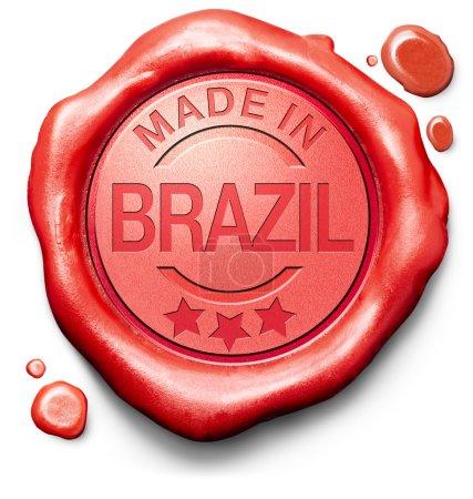 Photo pour Made in Brazil produit original acheter local acheter authentique label de qualité brésilien sceau de cire rouge - image libre de droit