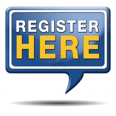 Photo pour Inscrivez-vous ici en aucun signe ou icône. Autocollant d'inscription d'adhésion . - image libre de droit