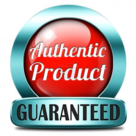 Photo pour Étiquette authentique ou bouton ou l'icône étiquette garanti authenticité garantie assurance label de qualité pour le contrôle des produits plus haut - image libre de droit