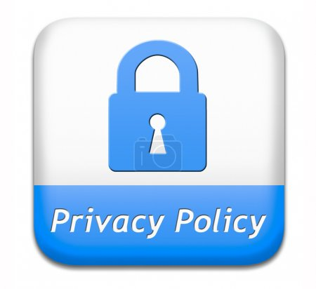 Photo pour Privacy policy terms of use for data and personal information protection. Safety icon label or sign. - image libre de droit