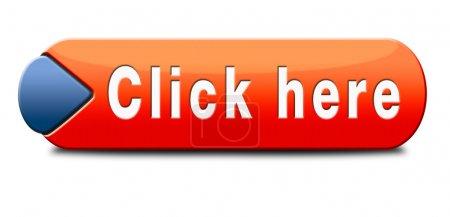 Photo pour Cliquez ici ou appuyez ici bouton ou icône - image libre de droit