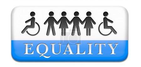 Photo pour Égalité des droits et des chances pour toutes les femmes homme handicapé noir et blanc solidarité discrimination des personnes handicapées ou handicapées physiques et mentales - image libre de droit