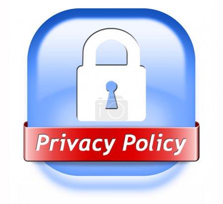 Photo pour Confidentialité terms d'utilisation des données et la protection des renseignements personnels. label de sécurité icône ou signe - image libre de droit
