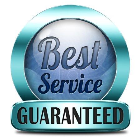 Photo pour Meilleur service Étiquette ou bouton autocollant garanti 100 % satisfaction du client - image libre de droit