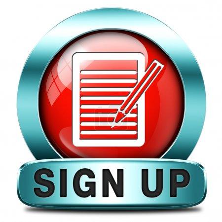 Photo pour Inscrivez-vous ou postulez maintenant icône et abonnez-vous ici pour l'adhésion. Remplissez le formulaire de demande . - image libre de droit