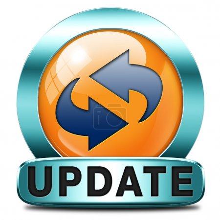 Photo pour Mise à jour logiciel maintenant et ici pour le dernière version plus récente ou la nouvelle édition, la bannière bouton ou l'icône - image libre de droit