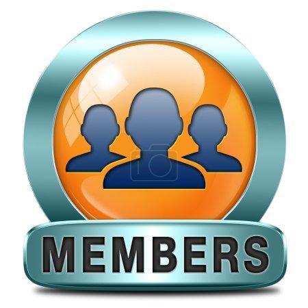 Photo pour Membres seul icône signe ou autocollant devenir membre et rejoindre ici pour obtenir votre étiquette de composition - image libre de droit