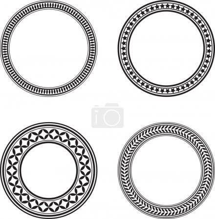 Illustration for Set of four black circle design elements - Royalty Free Image