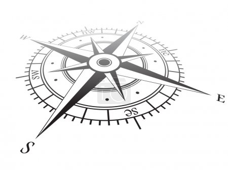Illustration for Black wind rose isolated on white - Royalty Free Image
