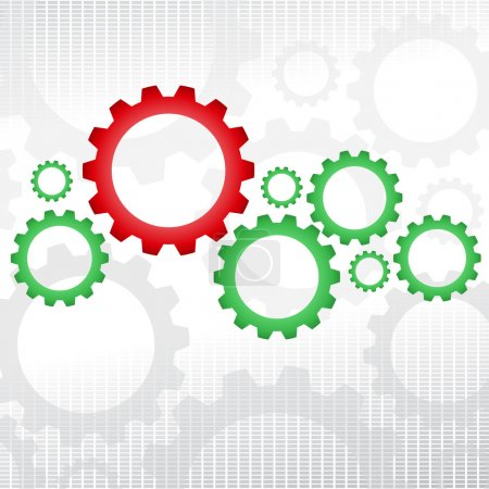 Illustration for Big red gear with many green gears. - Royalty Free Image