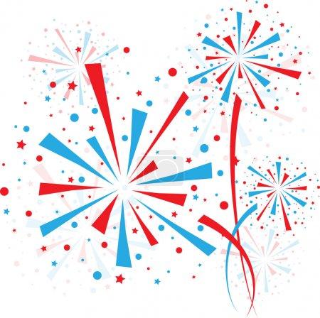 Illustration pour Grands feux d'artifice rouges et bleus sur fond blanc - image libre de droit